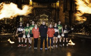 Pictured at the recent Queen's University & Pizza Hut Delivery Partnership Launch are Academy Athletes Dermot Begley (Tyrone), Ruairi Corrigan (Fermanagh), Shea Heffron (Armagh), Agnes Szczepanek (Pizza Hut Delivery) Aidan O'Rourke, Queen's GAA), Declan Devlin (Pizza Hut Delivery), Aimee Mackin (Armagh), Brendan Rogers (Derry) and Aoife McCoy (Armagh).