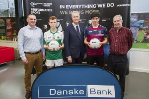"Queen's University have announced the winners of the 2016 Danske Bank ""Future Stars"" year twelve All Stars. Pictured at Upper Malone are Aidan O'Rourke (Queen's), Brendan McKay (St Malachy's Castlewellan), Mark Watson (Danske), Iarlaith Donaghy (St Pius X) and Sean McGourty (Ulster Schools)."